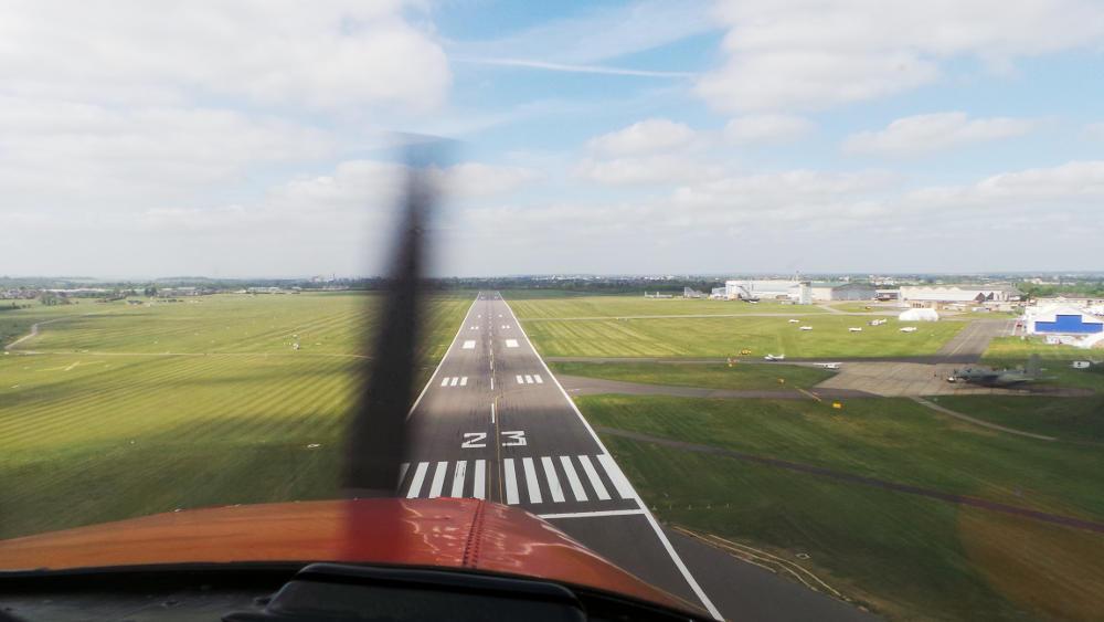 G-LTFB landing Cambridge Airport runway 23