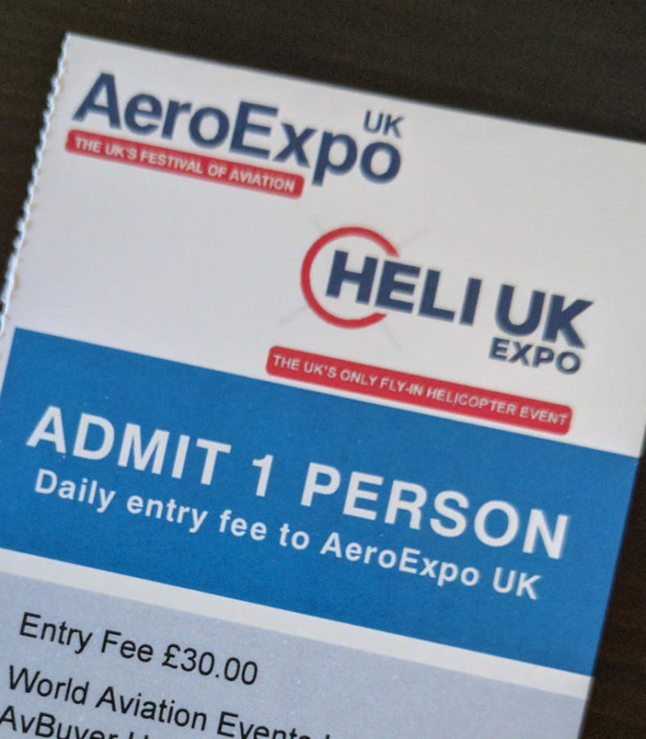 AeroExpo entry ticket 2017